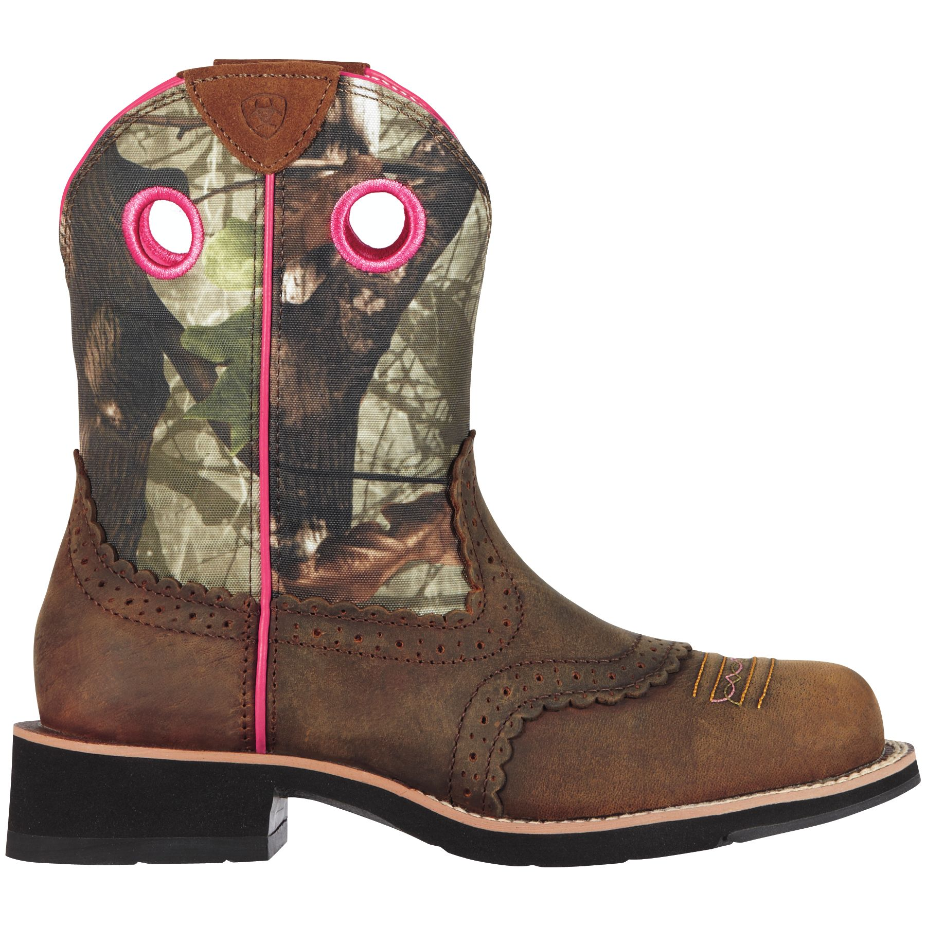 Ariat Women's Fatbaby Camo Western Boots, Size: 6.0, Distressed Brown Mossy Oak Camo thumbnail