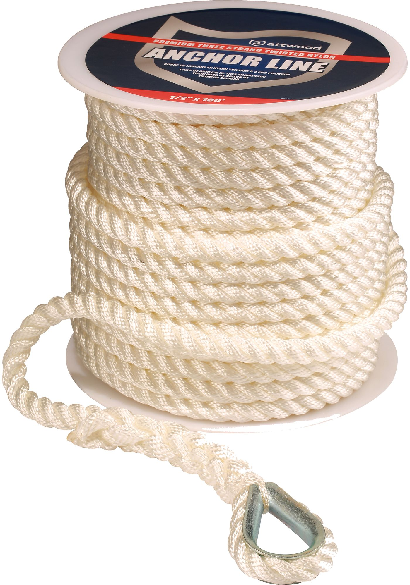 Attwood Premium Twisted Nylon Anchor Line with Thimble