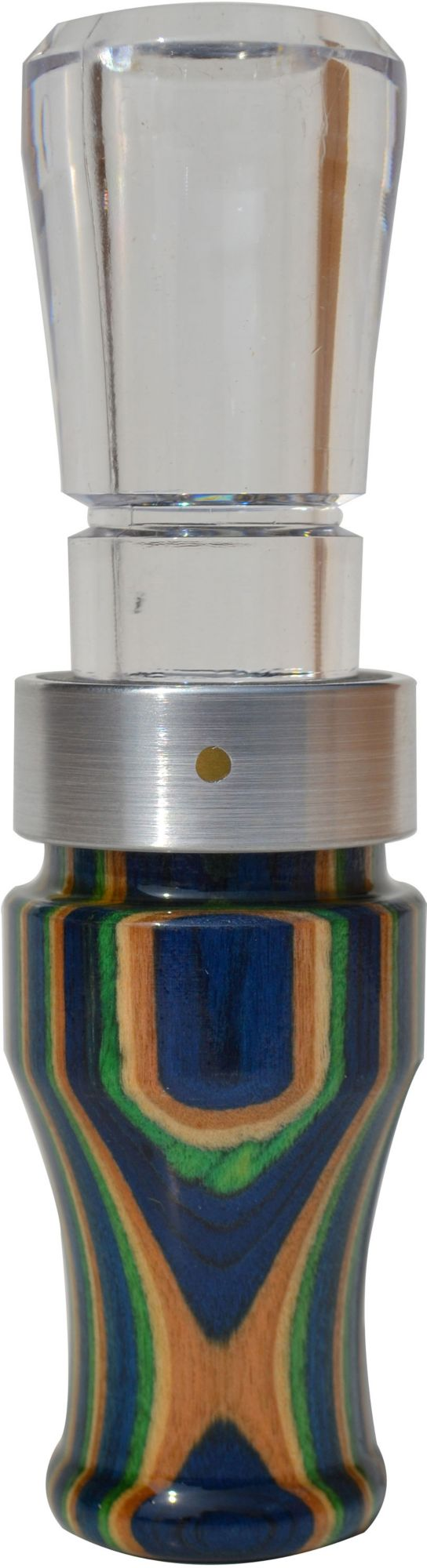 Buck Gardner Grey Ghost Diamond Wood Polycarbonate Goose Call, Blue/Green/Tan