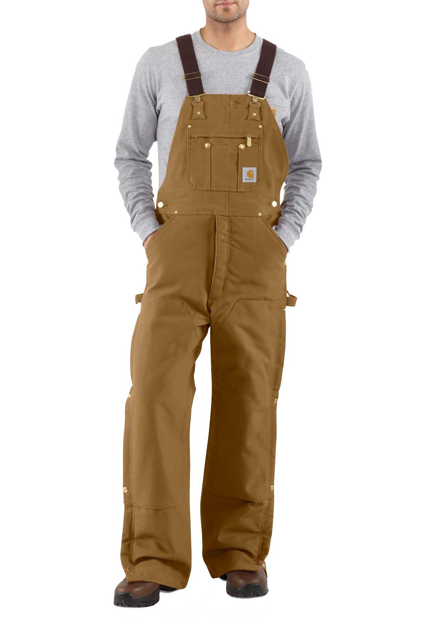 Carhartt Men's Zip-To-Thigh Quilt Lined Duck Bibs