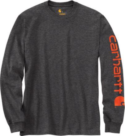 5e854c32 Heather Grey. Peat. Black. Carhartt Men's Graphic Logo Long Sleeve Shirt