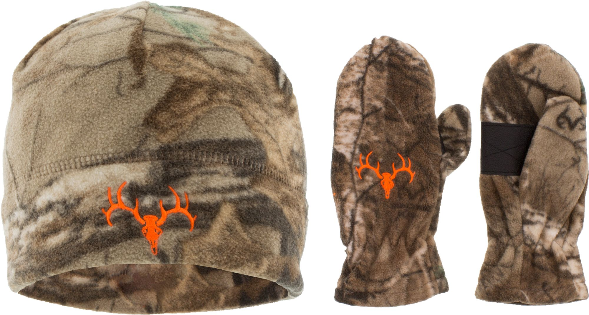 Field & Stream Youth Hunting Skull Beanie and Glove Combo, Kids Unisex, Brown thumbnail