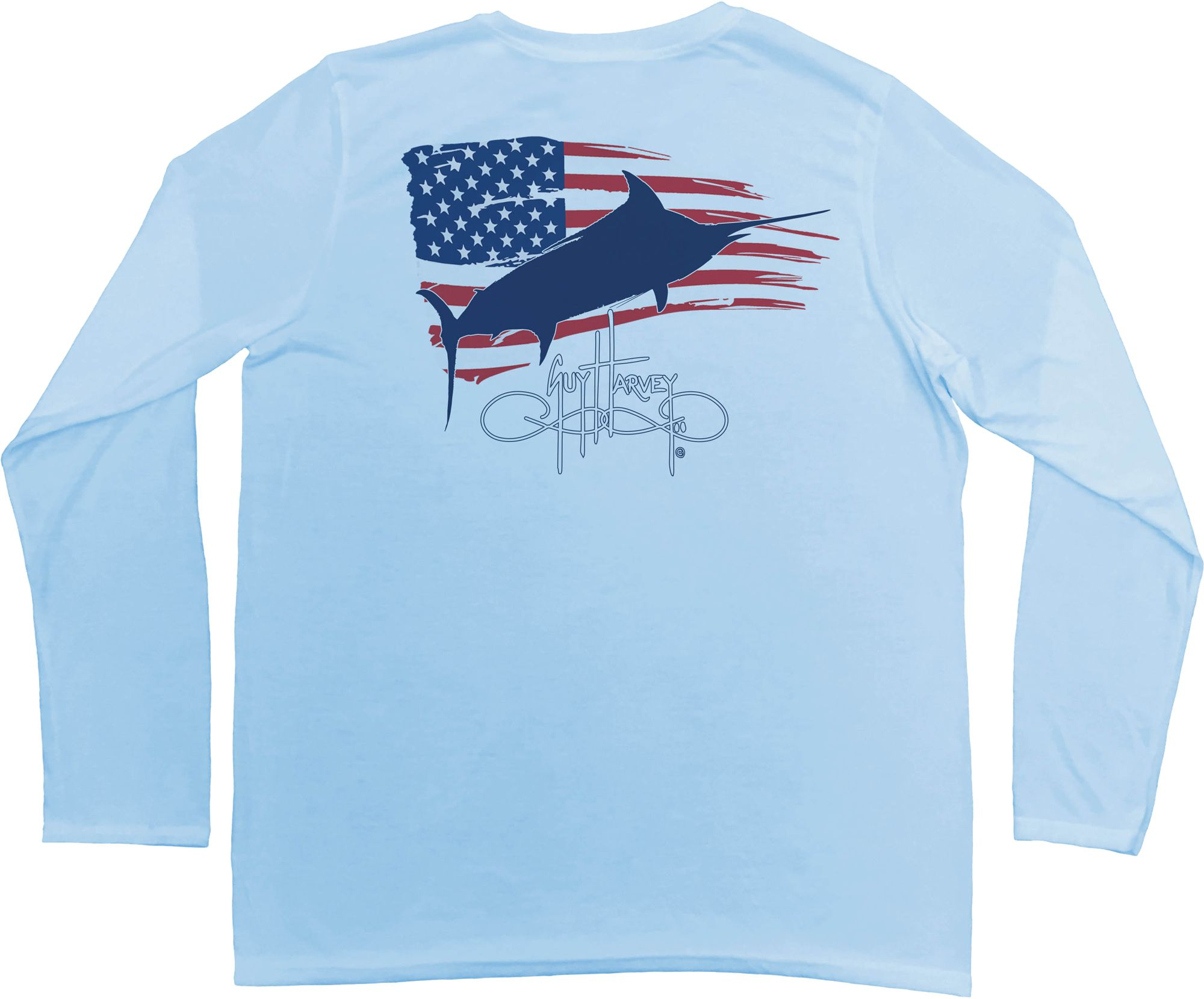 Guy Harvey Men's Patriot Pro UVX Performance Long Sleeve Shirt, Size: XL, Blue thumbnail