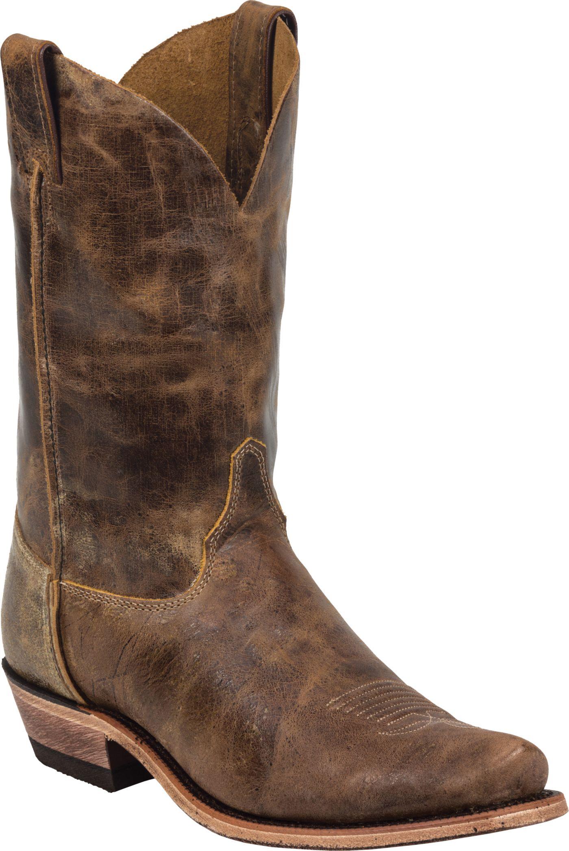 Justin Men's Cracked Bent Rail Tan Road Western Boots
