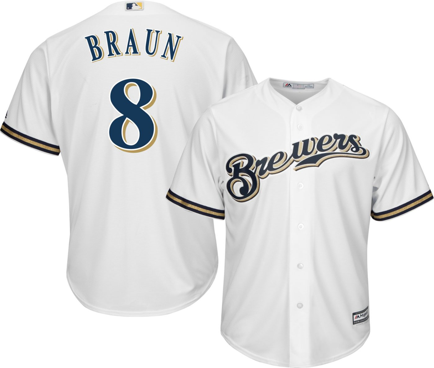 Majestic Men's Replica Milwaukee Brewers Ryan Braun #8 Cool Base Home White Jersey