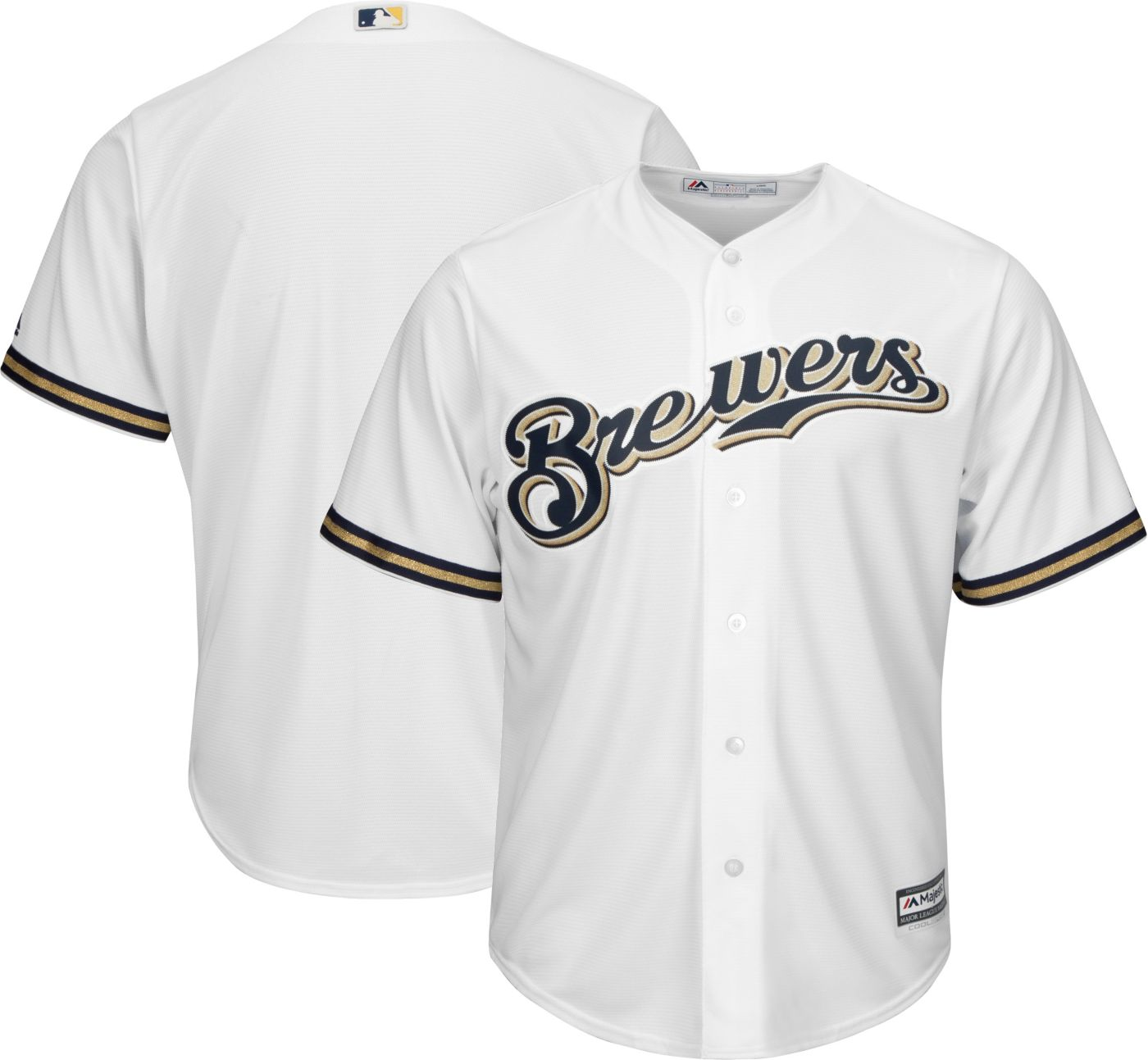 Majestic Men's Replica Milwaukee Brewers Cool Base Home White Jersey