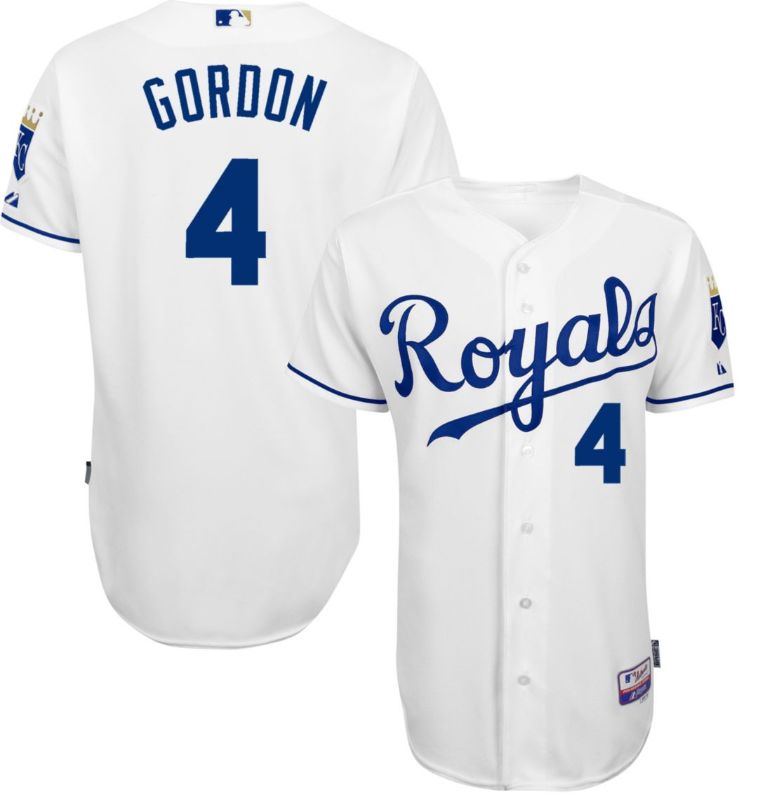 9e246280289 Majestic Men s Authentic Kansas City Royals Alex Gordon  4 Cool Base Home  White On-