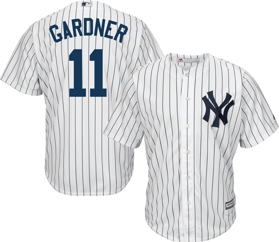 new style 57c5e 70599 Majestic Men's Replica New York Yankees Brett Gardner #11 Cool Base Home  White Jersey