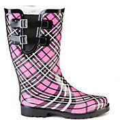 Puddletons Women's Classic Double Strap Plaid Rain Boots