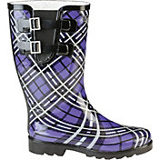 Puddletons Women's Classic Double Strap Plaid Rain Boots