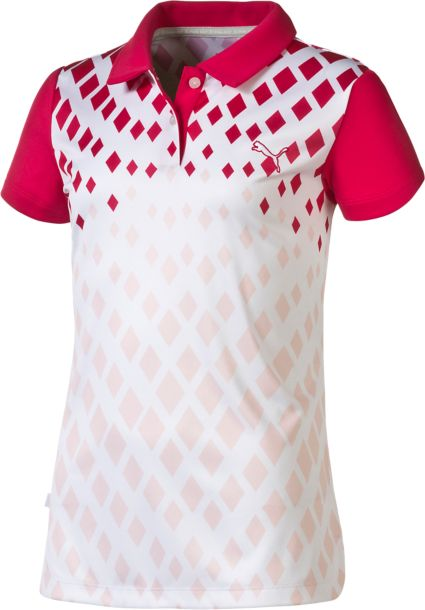PUMA Girls' Diamond Print Polo