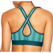 Under Armour Women's Striped Armour Medium Impact Crossback Sports Bra