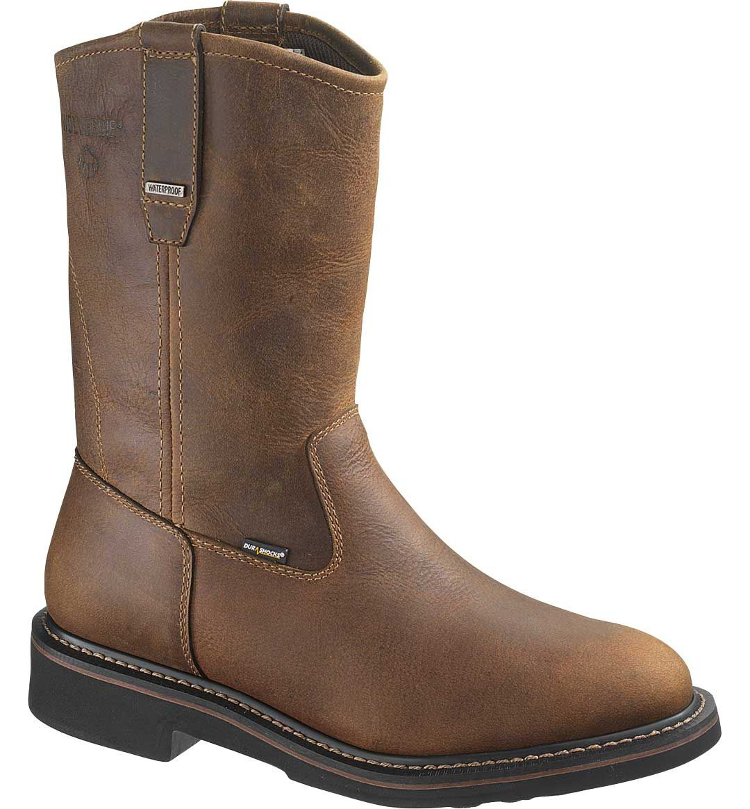 """1218ed689be Wolverine Men's Brek 10"""" Wellington Waterproof DuraShocks Steel Toe Work  Boots"""