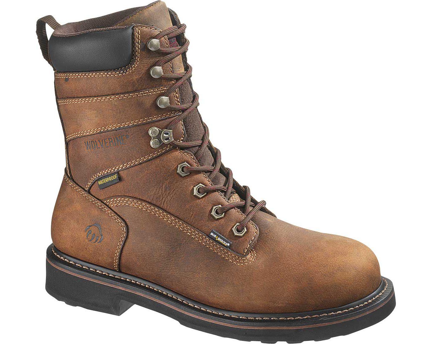 """Wolverine Men's Brek 8"""" Waterproof DuraShocks Steel Toe Work Boots"""