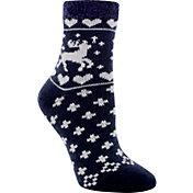 Yaktrax Women's Cozy Cabin Deer Crew Socks