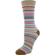 Yaktrax Women's Everyday Multi Stripe Crew Socks
