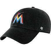 '47 Men's Miami Marlins Clean Up Black Adjustable Hat