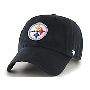 '47 Men's Pittsburgh Steelers Black Clean Up Adjustable Hat