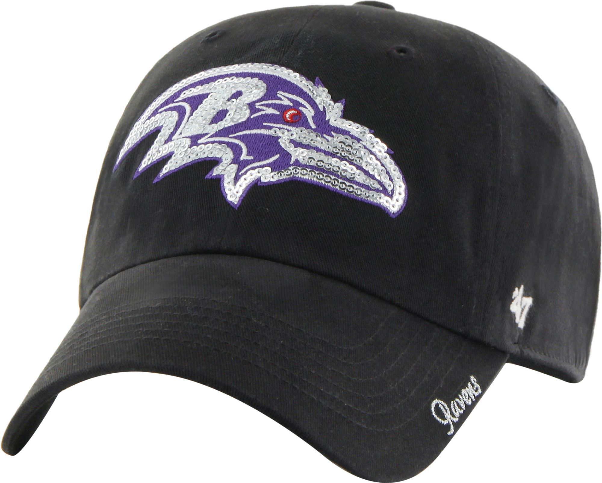 47 Womens Baltimore Ravens Sparkle Logo Black Adjustable -7566