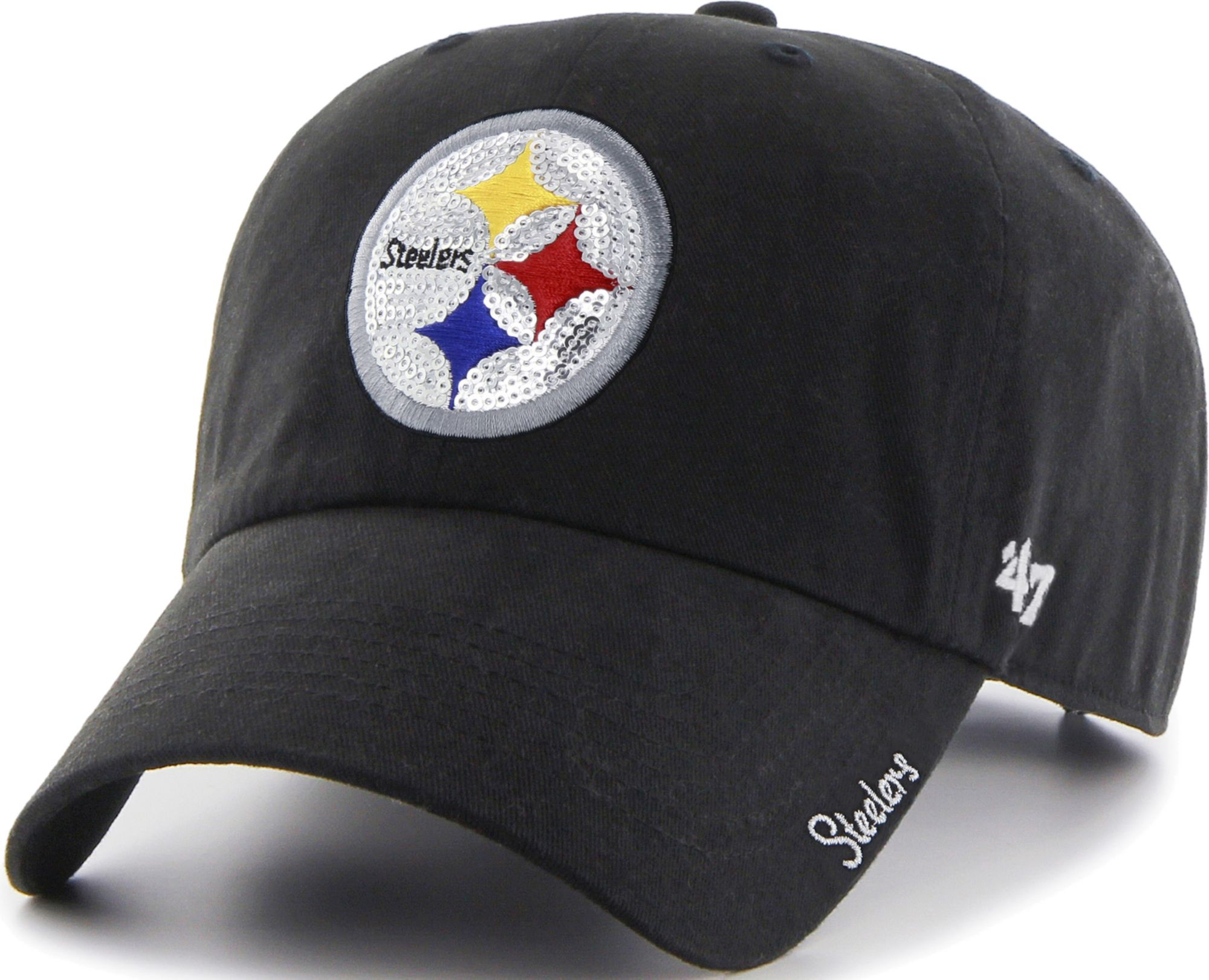 460f2a09d9d081 47 Women's Pittsburgh Steelers Sparkle Logo Black Adjustable Hat ...