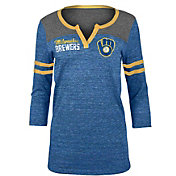 New Era Women's Milwaukee Brewers Navy Three-Quarter Sleeve Shirt