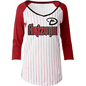 New Era Women's Arizona Diamondbacks Opening Night White/Red Pinstripe Three-Quarter Shirt