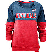 New Era Women's Washington Nationals Navy/Red Long Sleeve Fleece Pullover