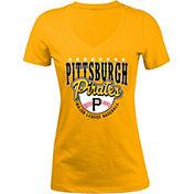 New Era Women's Pittsburgh Pirates Gold V-Neck T-Shirt
