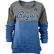 New Era Women's Kansas City Royals Grey/Royal Long Sleeve Fleece Pullover