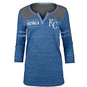 New Era Women's Kansas City Royals Royal Three-Quarter Sleeve Shirt