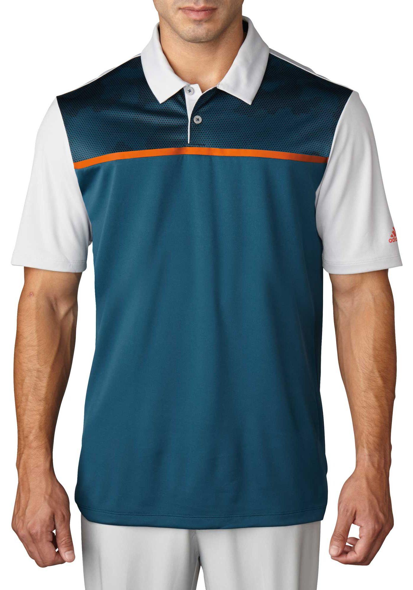 adidas Men's climacool Blocked Print Golf Polo