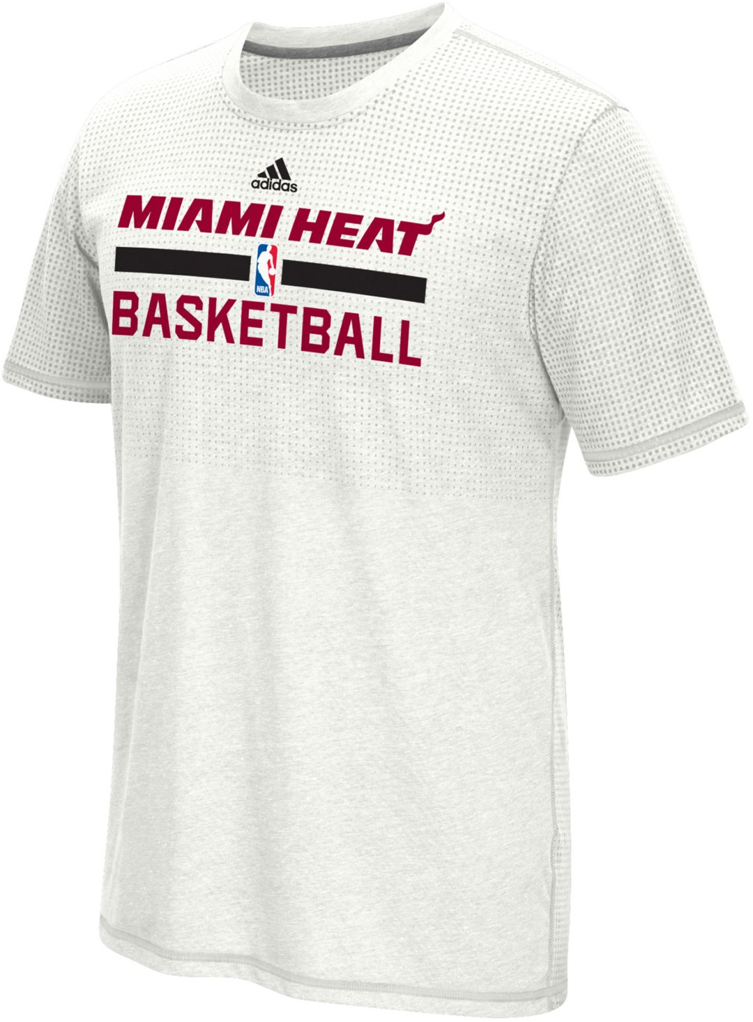 designer fashion ee1c5 fb65b Extended Sizes - adidas Men's Miami Heat White Aeroknit Shooting Shirt