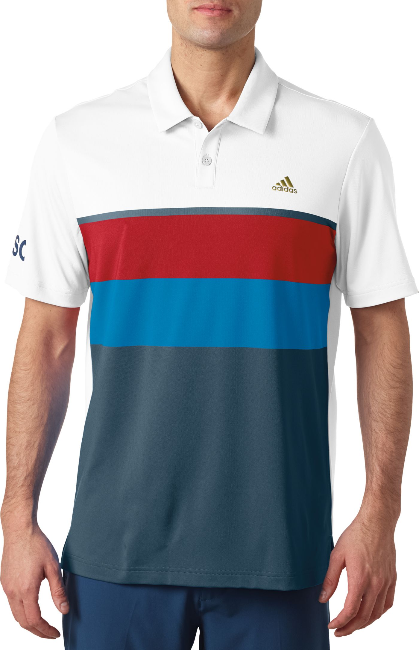 adidas Men's USA Engineered Stripe Golf Polo