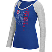 adidas Women's Detroit Pistons Scoop Neck Royal/Grey Long Sleeve Shirt