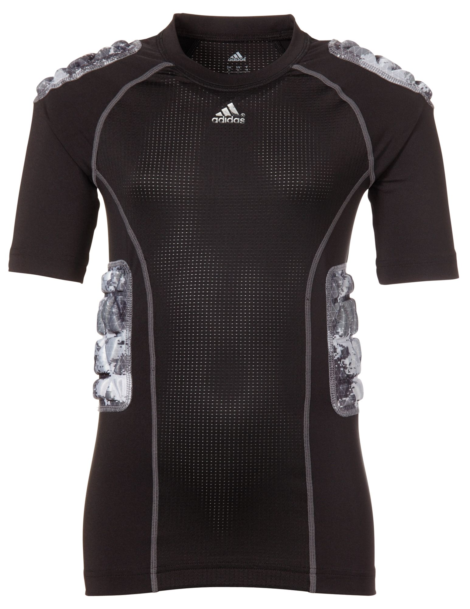 adidas Youth Padded techfit Camo Football Shirt, Black thumbnail