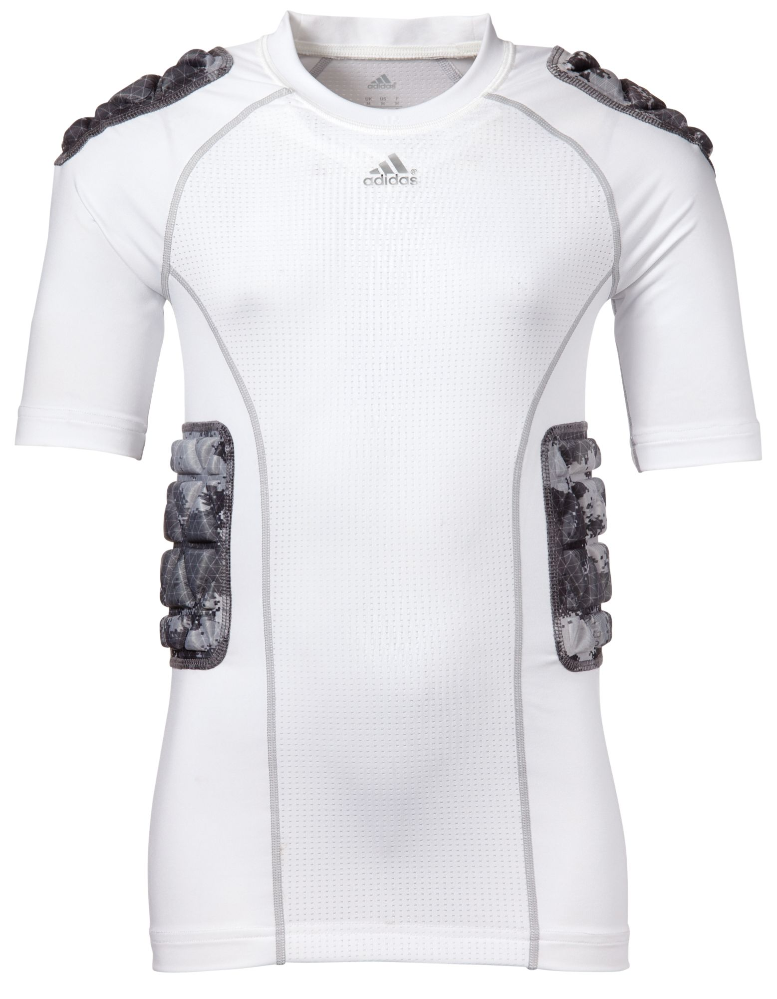 adidas Youth Padded techfit Camo Football Shirt, Kids, Large, White