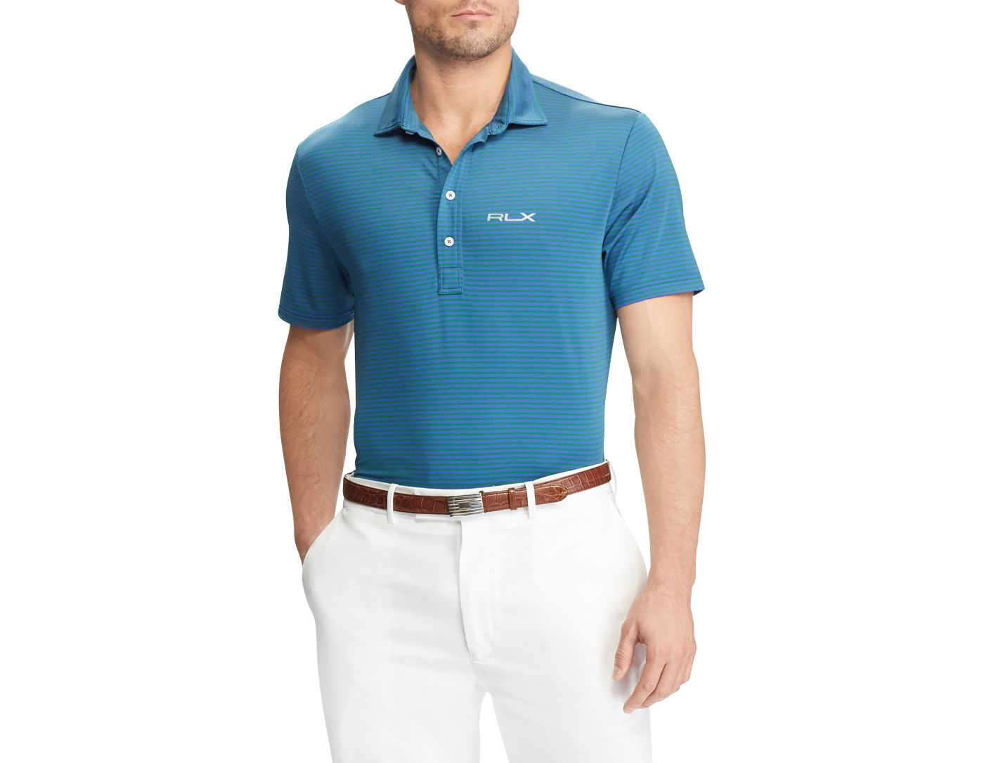 RLX Golf Men's Short Sleeve Striped Airflow Performance Golf Polo