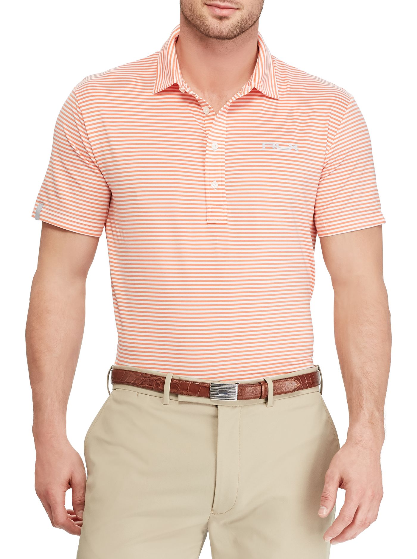 RLX Golf Men's Short Sleeve Striped Airflow Performance Golf Polo
