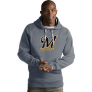 Antigua Men's Milwaukee Brewers Grey Victory Pullover