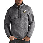 Antigua Men's Milwaukee Brewers Grey Fortune Half-Zip Pullover