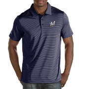 Antigua Men's Milwaukee Brewers Quest Navy Performance Polo