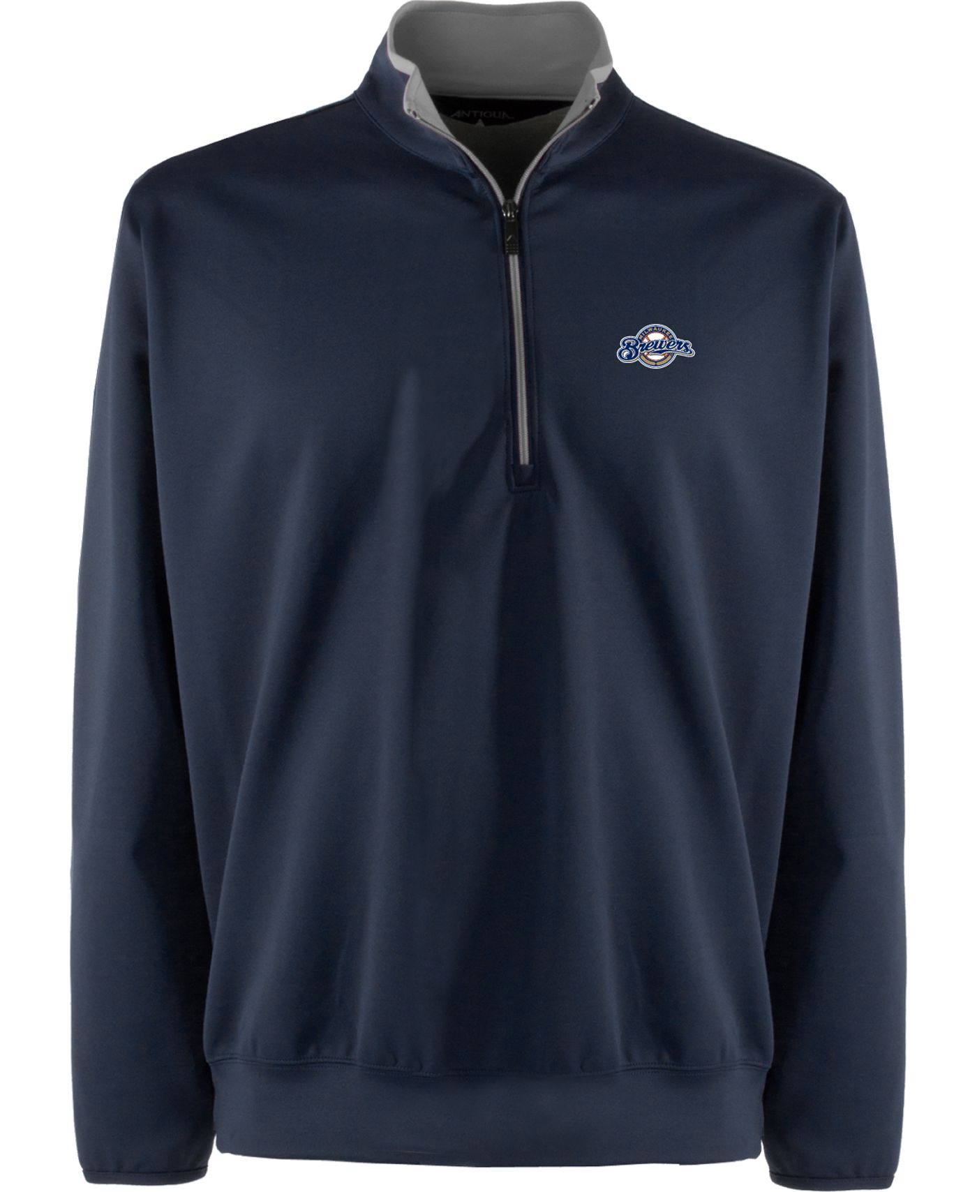 Antigua Men's Milwaukee Brewers Leader Navy Quarter-Zip Pullover
