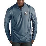 Antigua Men's Milwaukee Brewers Tempo Navy Quarter-Zip Pullover