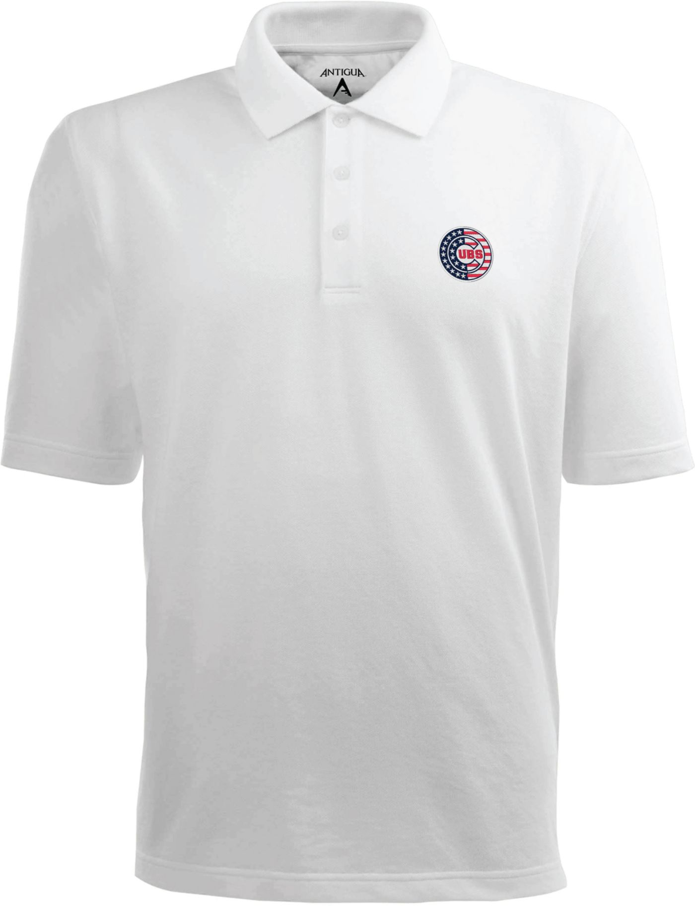 Antigua Men's Chicago Cubs Xtra-Lite Patriotic Logo White Pique Performance Polo