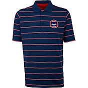 Antigua Men's Chicago Cubs Deluxe Royal Striped Performance Polo