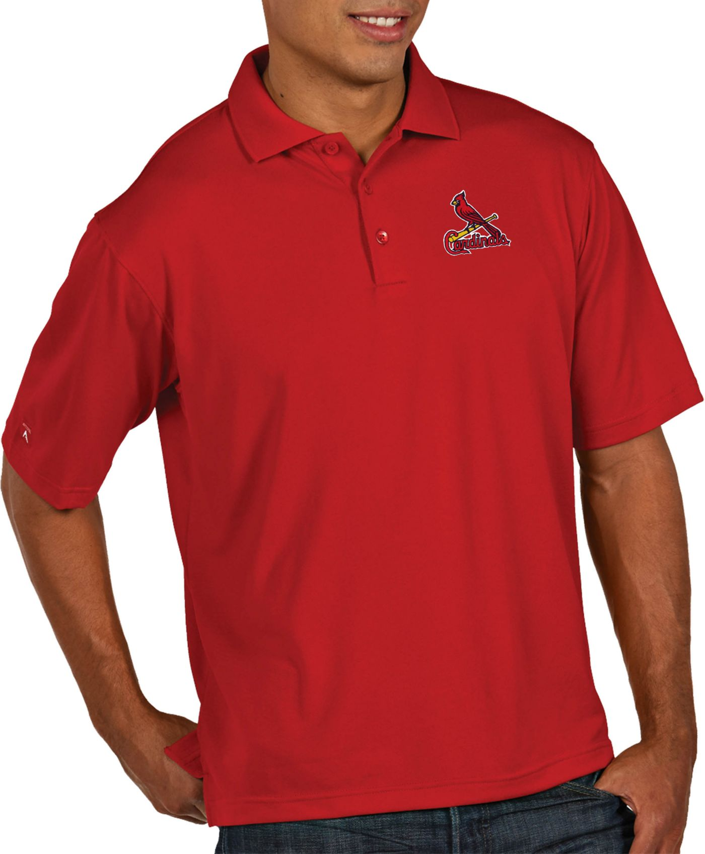 Antigua Men's St. Louis Cardinals Pique Red Performance Polo