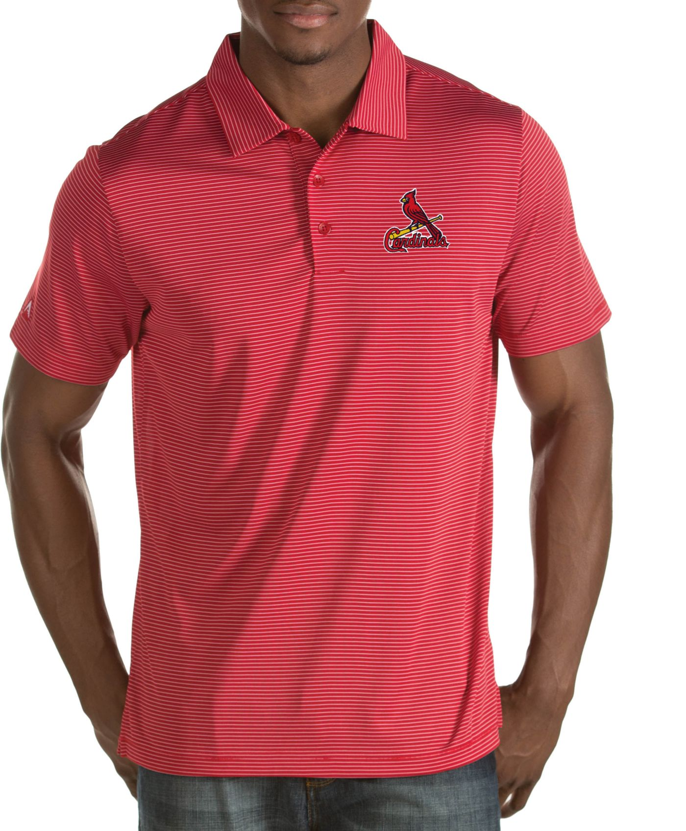 Antigua Men's St. Louis Cardinals Quest Red Performance Polo