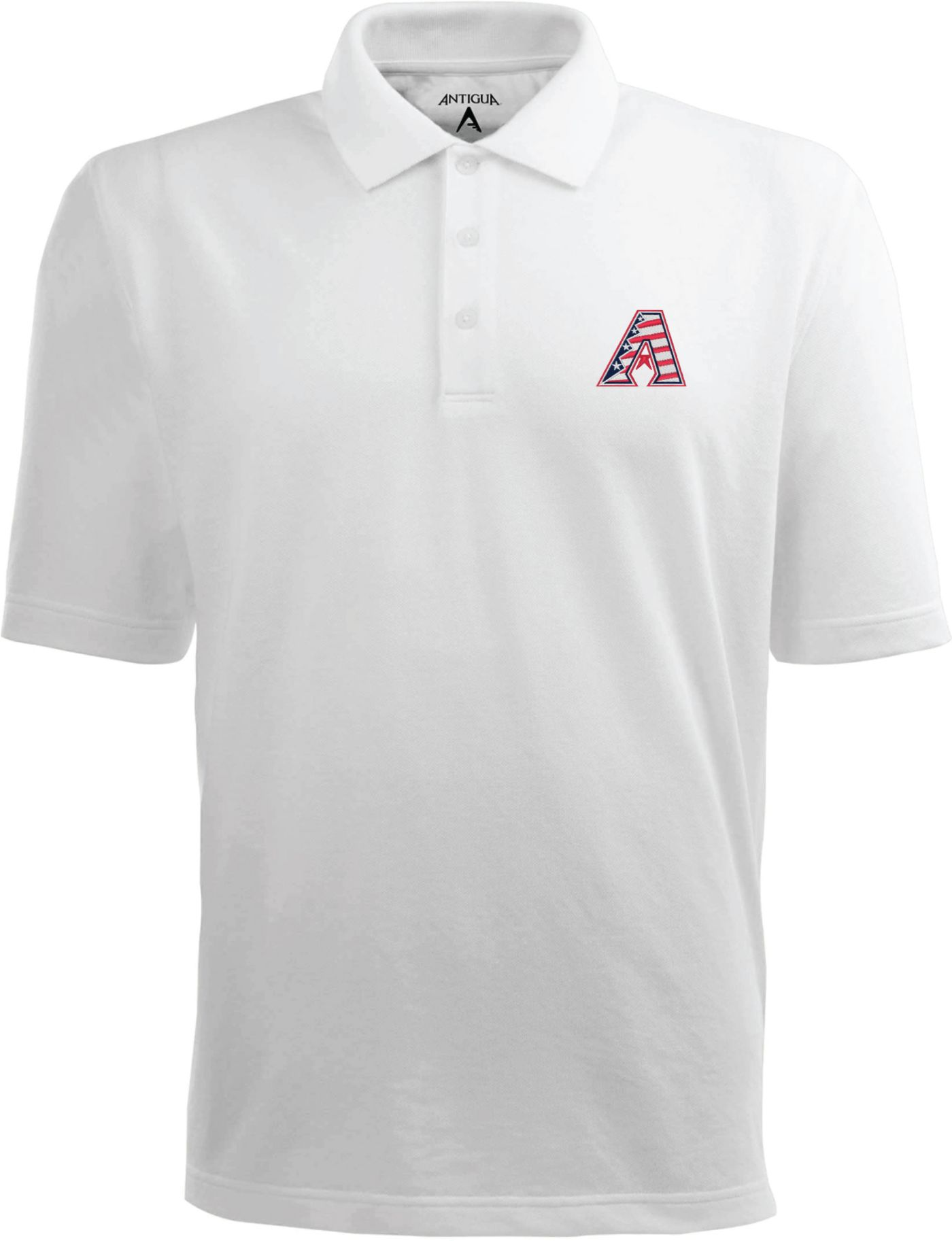 Antigua Men's Arizona Diamondbacks Xtra-Lite Patriotic Logo White Pique Performance Polo