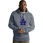 Antigua Men's Los Angeles Dodgers Grey Victory Pullover