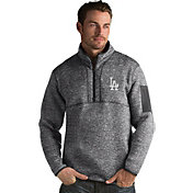 Antigua Men's Los Angeles Dodgers Grey Fortune Half-Zip Pullover